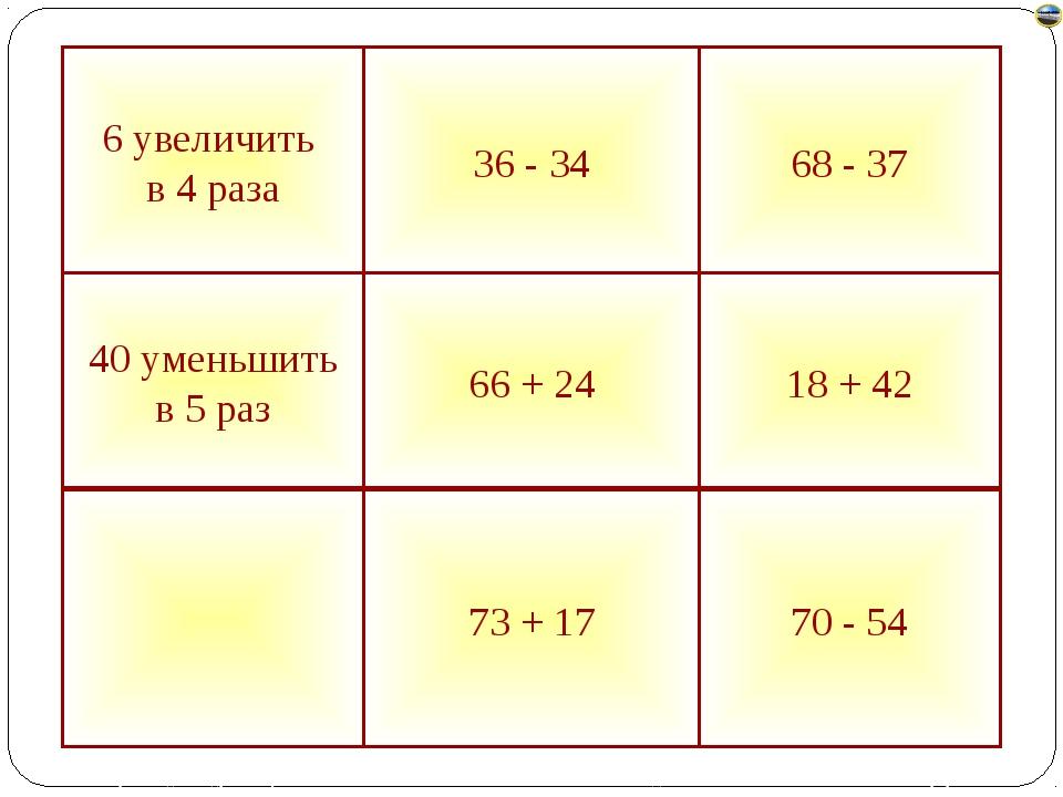 70 - 54 73 + 17 18 + 42 66 + 24 40 уменьшить в 5 раз 68 - 37 36 - 34 6 увелич...