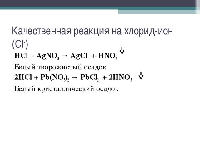 Качественная реакция на хлорид-ион (Cl-) HCl + AgNO3 → AgCl + HNO3 Белый твор...