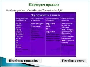 Повторим правило Перейти к тренажёру Перейти к тесту http://www.gramota.ru/sp