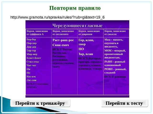 Повторим правило Перейти к тренажёру Перейти к тесту http://www.gramota.ru/sp...