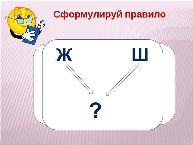 ЖИ – ШИ пиши с буквой И Сформулируй правило