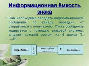 Информационная ёмкость знака Нам необходимо передать информа-ционное сообщени