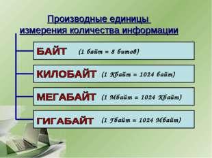 Производные единицы измерения количества информации (1 байт = 8 битов) (1 Кба