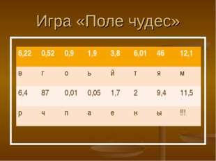 Игра «Поле чудес» 6,220,520,91,93,86,014612,1 вгоьйтям 6,4870