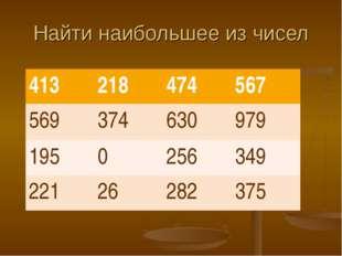 Найти наибольшее из чисел 413218474567 569374630979 1950256349 2212