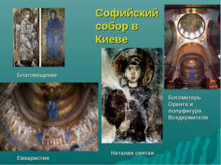Богоматерь Оранта и полуфигура Вседержителя Благовещение Евхаристия Наталия с