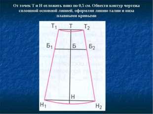 От точек Т и Н отложить вниз по 0,5 см. Обвести контур чертежа сплошной основ