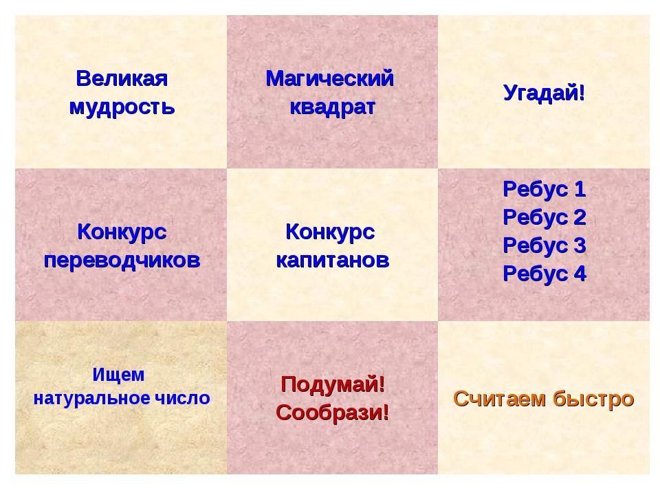 Великая мудростьМагический квадратУгадай! Конкурс переводчиковКонкурс капи...