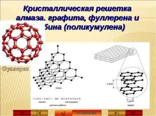 ОГЛАВЛЕНИЕ Кристаллическая решетка алмаза, графита, фуллерена и карбина (поли