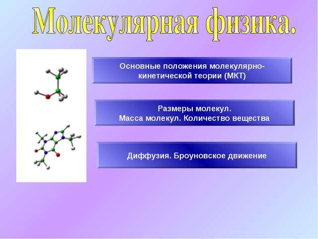 Основные положения молекулярно- кинетической теории (МКТ) Размеры молекул. Ма...