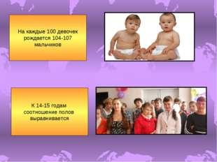 На каждые 100 девочек рождается 104-107 мальчиков К 14-15 годам соотношение п