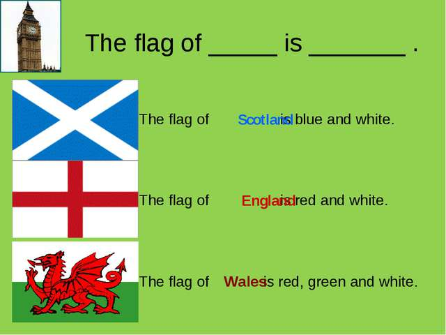 The flag of _____ is _______ . Scotland England Wales 	The flag of is blue an...