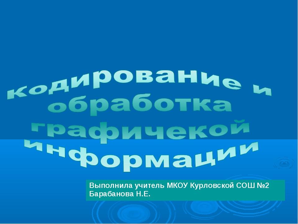 Выполнила учитель МКОУ Курловской СОШ №2 Барабанова Н.Е.