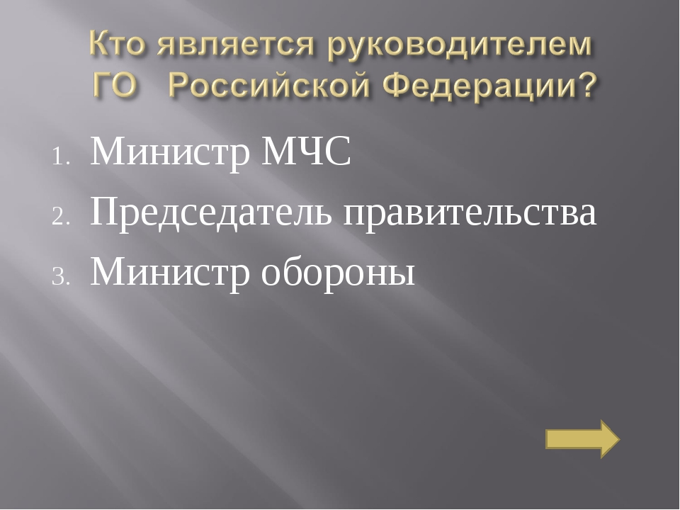 Министр МЧС Председатель правительства Министр обороны