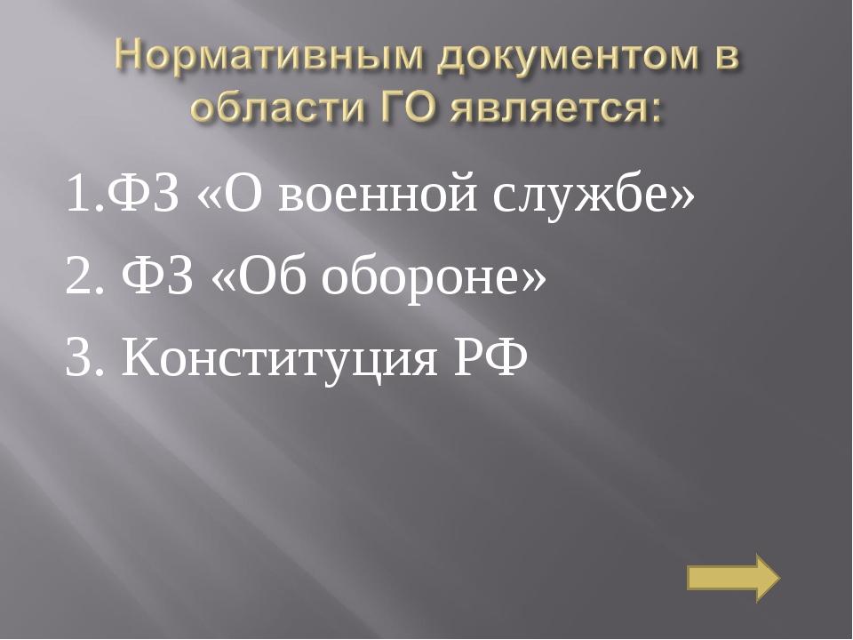 1.ФЗ «О военной службе» 2. ФЗ «Об обороне» 3. Конституция РФ
