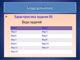 Характеристика задания B5 Виды заданий Вид 1Вид 2 Вид 3Вид 4 Вид 5Вид 6 В