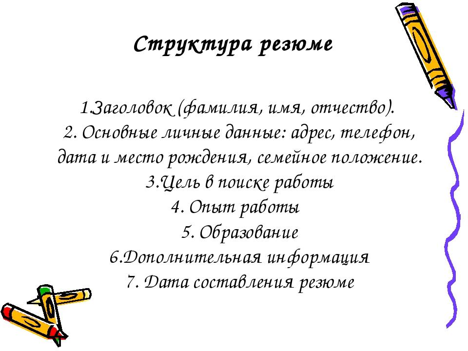 Структура резюме 1.Заголовок (фамилия, имя, отчество). 2. Основные личные дан...