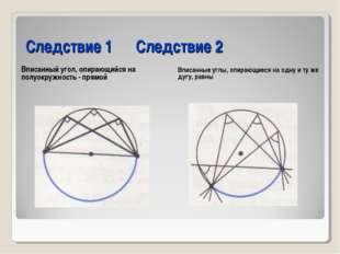 Следствие 1 Следствие 2 Вписанный угол, опирающийся на полуокружность - прям
