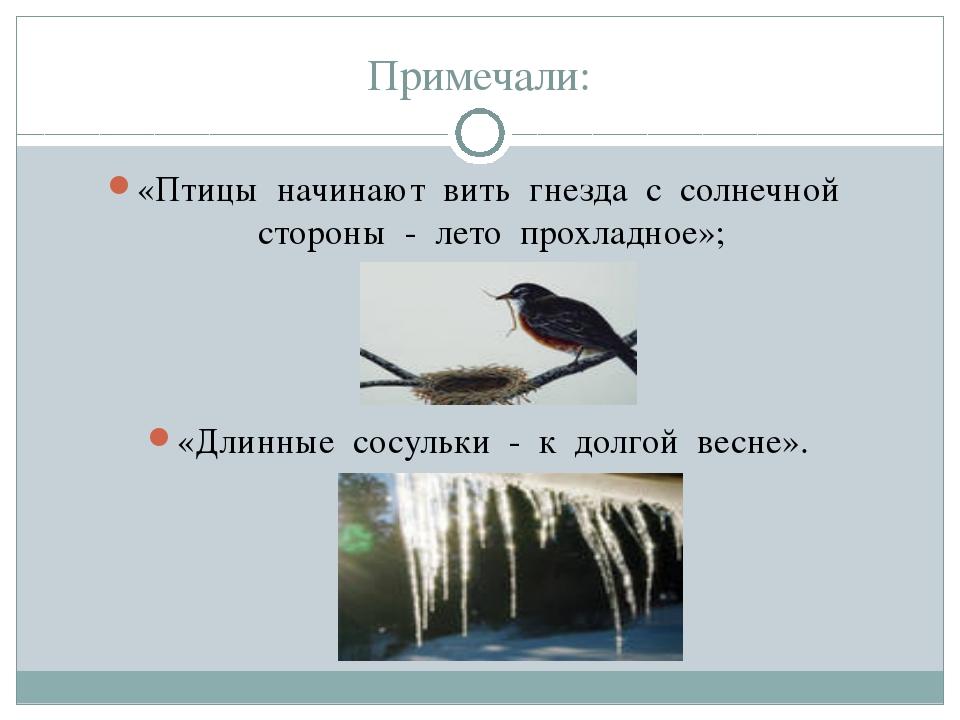 Примечали: «Птицы начинают вить гнезда с солнечной стороны - лето прохладное»...