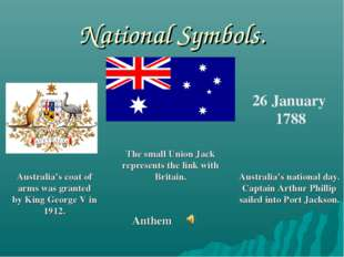 National Symbols. 26 January 1788 Australia's coat of arms was granted by Kin