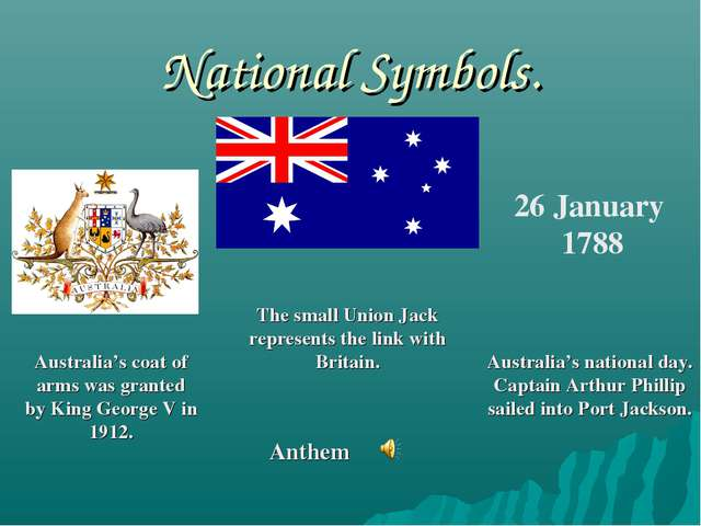 National Symbols. 26 January 1788 Australia's coat of arms was granted by Kin...