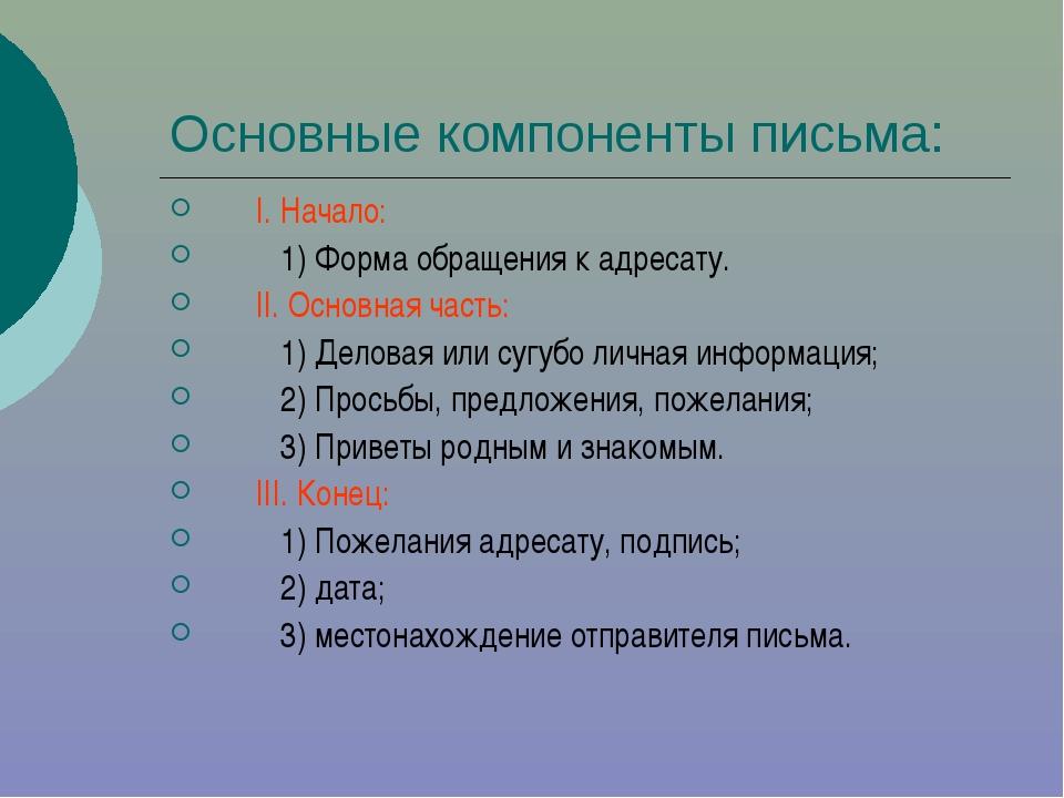 Основные компоненты письма: I. Начало: 1) Форма обращения к адресату. II. Осн...