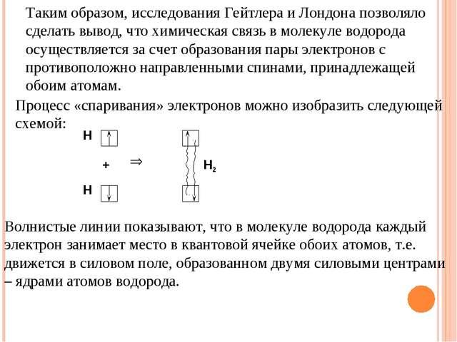 Таким образом, исследования Гейтлера и Лондона позволяло сделать вывод, что х...
