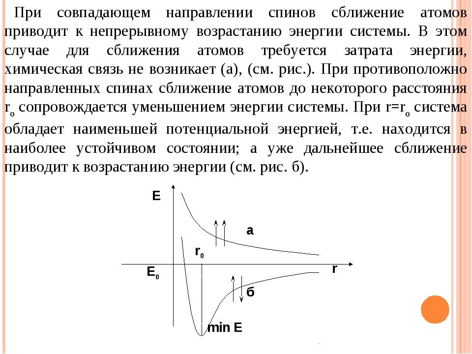 При совпадающем направлении спинов сближение атомов приводит к непрерывному в...
