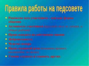 Равенство всех участников – имя как форма общения Активность участников (круг