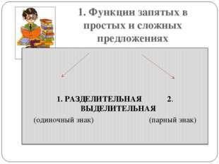 1. Функции запятых в простых и сложных предложениях