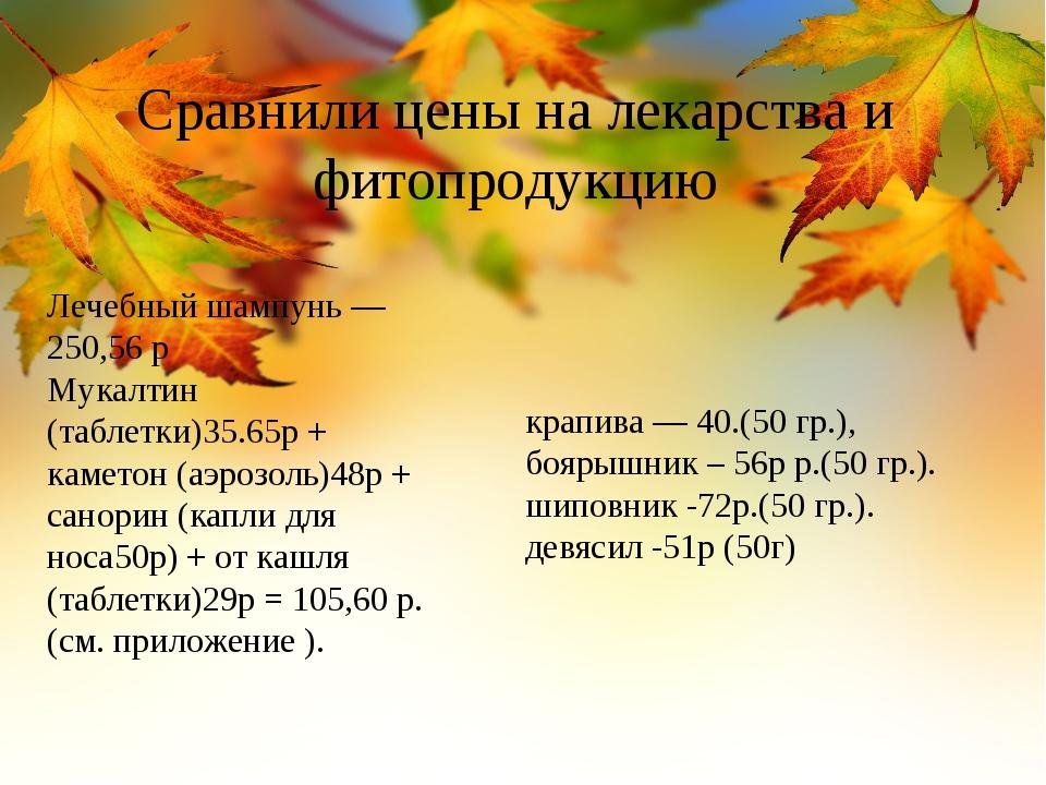 Сравнили цены на лекарства и фитопродукцию Лечебный шампунь — 250,56 р Мукалт...