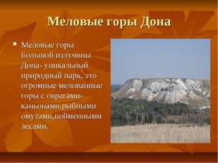 Меловые горы Дона Меловые горы Большой излучины Дона- уникальный природный па