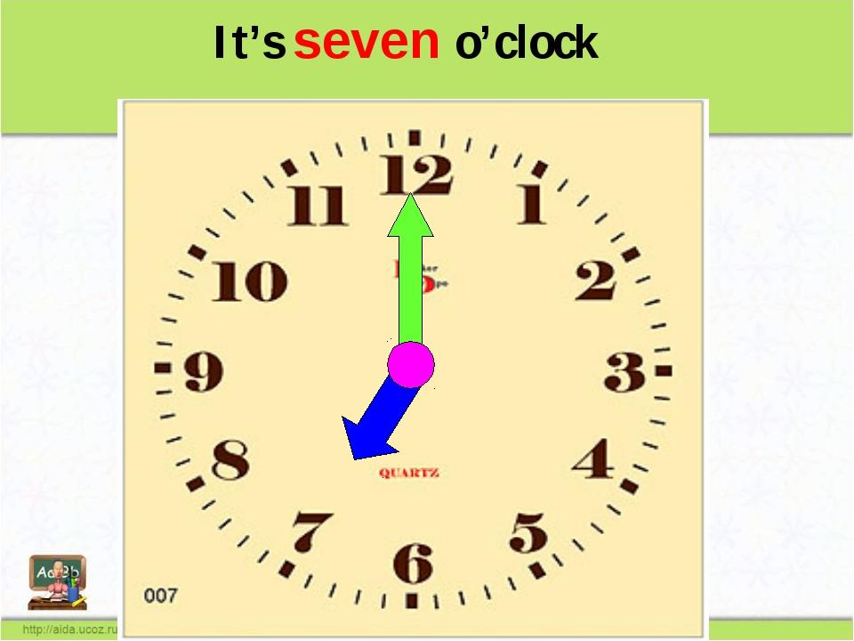 It's seven o'clock