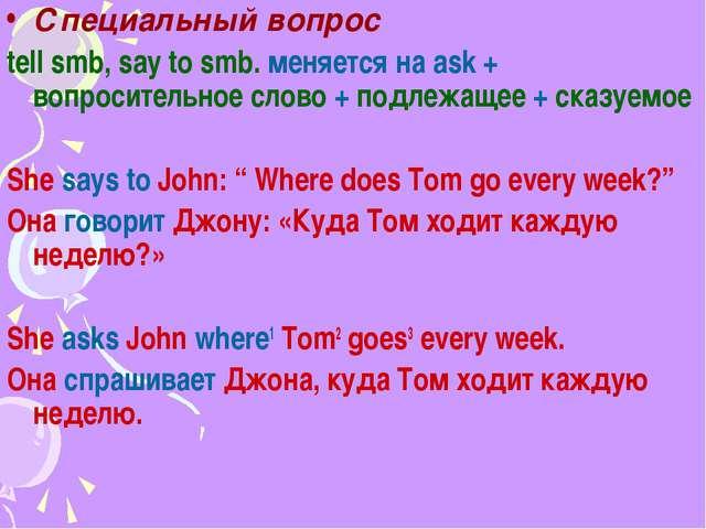 Специальный вопрос tell smb, say to smb. меняется на ask + вопросительное сло...