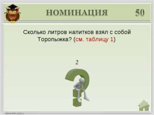 2 Сколько литров напитков взял с собой Торопыжка? (см. таблицу 1)
