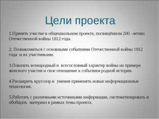29.03.12 Цели проекта 1.Принять участие в общешкольном проекте, посвящённом 2