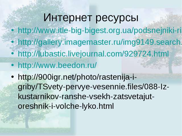 Интернет ресурсы http://www.itle-big-bigest.org.ua/podsnejniki-risunok.html h...