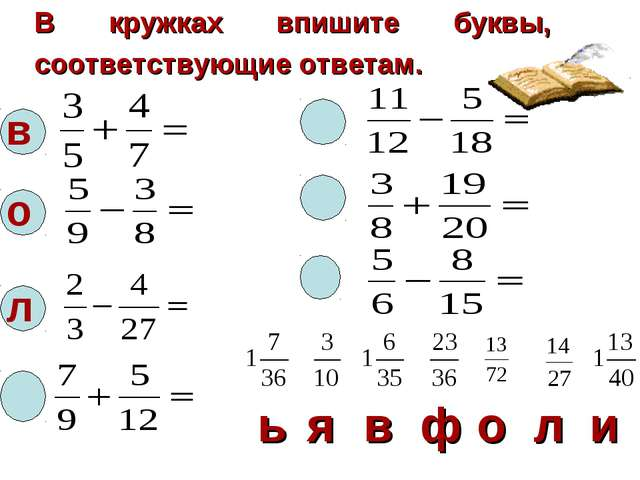 В кружках впишите буквы, соответствующие ответам. в о л  ьявфоли