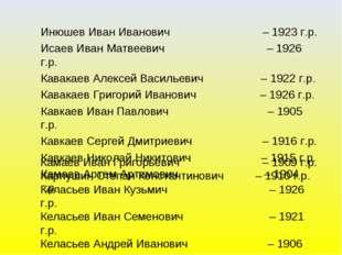 Инюшев Иван Иванович – 1923 г.р. Исаев Иван Матвеевич – 1926 г.р. Кавакаев Ал