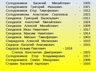 Солодовников Василий Михайлович - 1905 Солодовников Григорий Иванович - 1921
