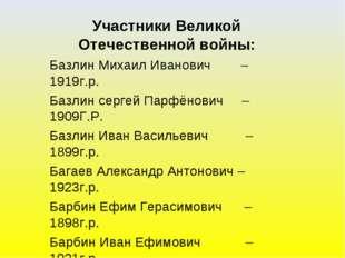 Участники Великой Отечественной войны: Базлин Михаил Иванович – 1919г.р. Базл