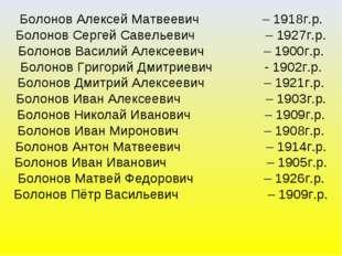 Болонов Алексей Матвеевич – 1918г.р. Болонов Сергей Савельевич – 1927г.р. Бол