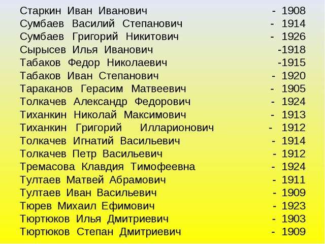 Старкин Иван Иванович - 1908 Сумбаев Василий Степанович - 1914 Сумбаев Григо...
