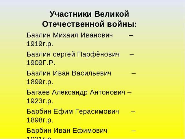 Участники Великой Отечественной войны: Базлин Михаил Иванович – 1919г.р. Базл...