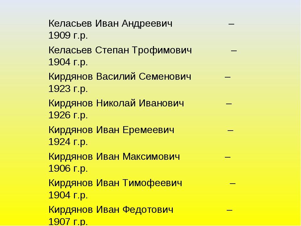 Келасьев Иван Андреевич – 1909 г.р. Келасьев Степан Трофимович – 1904 г.р. Ки...