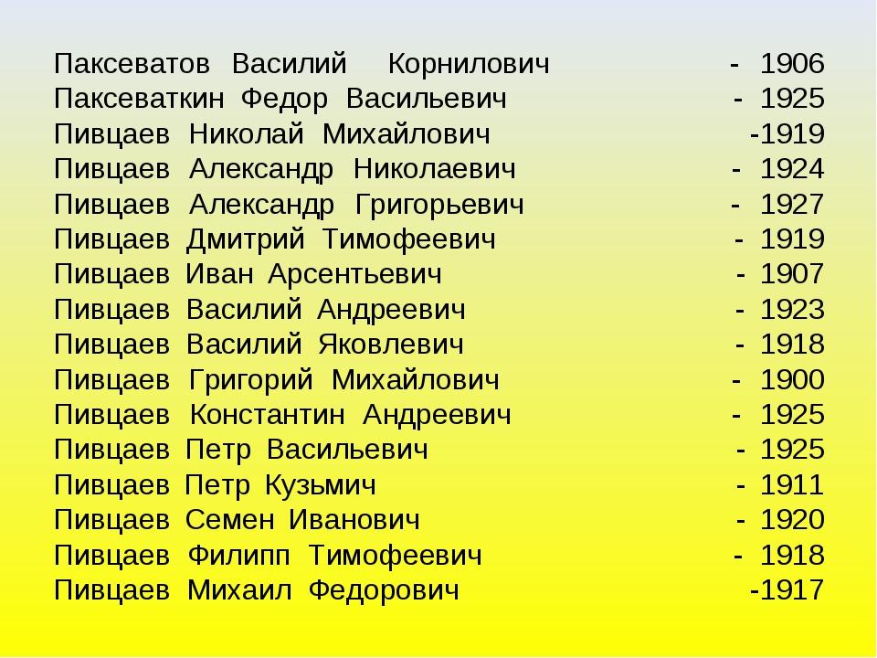 Паксеватов Василий Корнилович - 1906 Паксеваткин Федор Васильевич - 1925 Пивц...