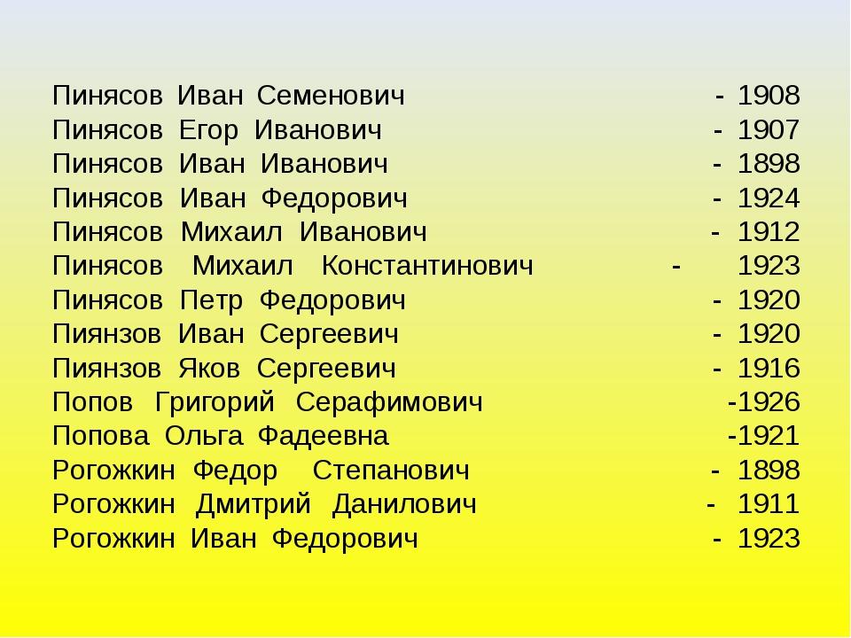 Пинясов Иван Семенович - 1908 Пинясов Егор Иванович - 1907 Пинясов Иван Ивано...