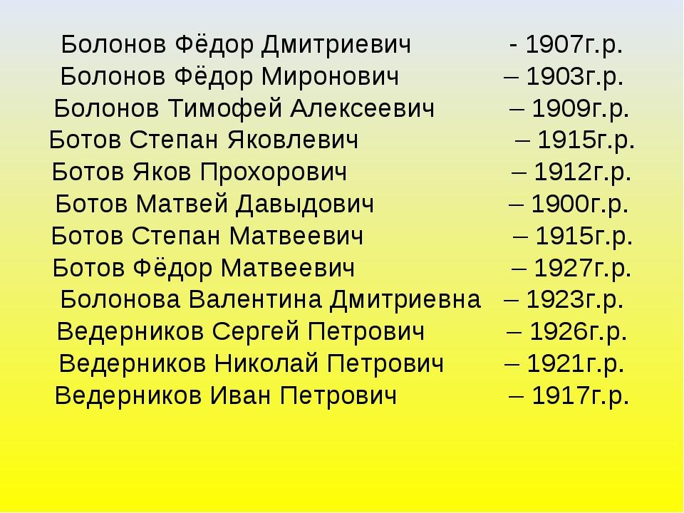 Болонов Фёдор Дмитриевич - 1907г.р. Болонов Фёдор Миронович – 1903г.р. Болоно...