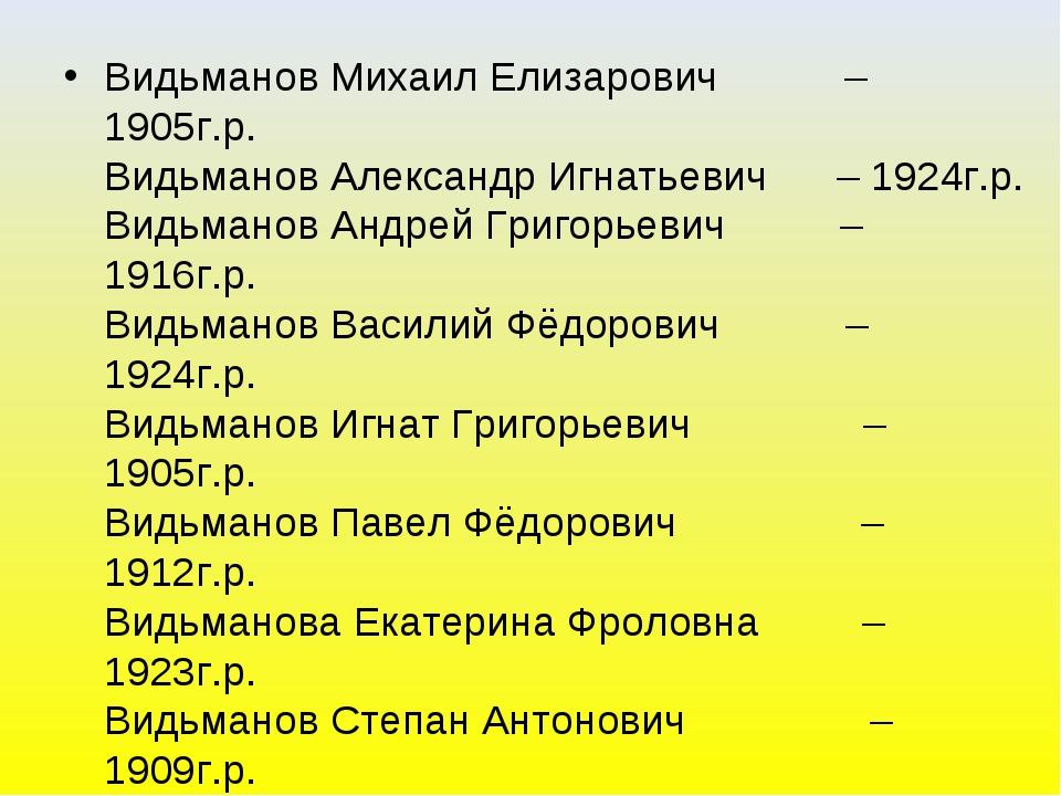 Видьманов Михаил Елизарович – 1905г.р. Видьманов Александр Игнатьевич – 1924г...