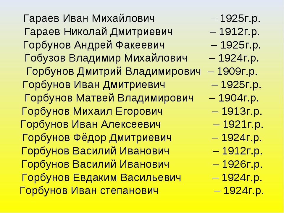 Гараев Иван Михайлович – 1925г.р. Гараев Николай Дмитриевич – 1912г.р. Горбун...